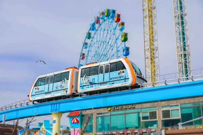 【仁川站】韓國最長旅遊單軌列車 -『仁川月尾海洋列車(월미바다열차)』從空中擁抱海洋!